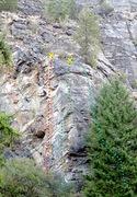 Rock Climbing Photo: Little Pine Rock - left side topo