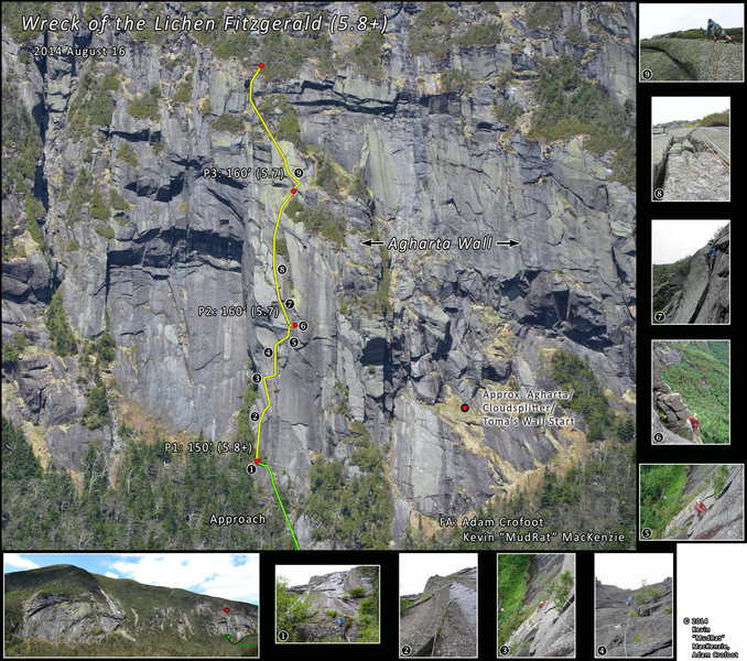 """Route of """"Wreck of the Lichen Fitzgerad"""" on Mt. Marcy's Agharta Wall."""