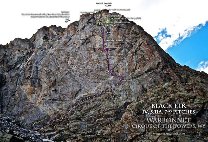 Rock Climbing Photo: Black Elk route overlay.