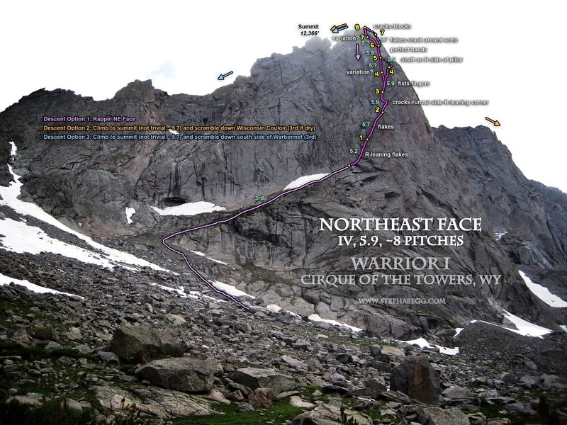 Rock Climbing Photo: Route Overlay, Northeast Face (IV, 5.9) of Warrior...