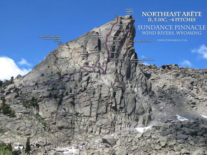 Route Overlay, Northeast Arete (5.10c) of Sundance Pinnacle