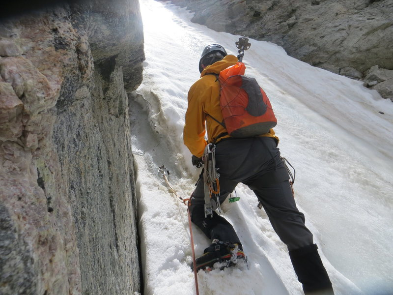Rock Climbing Photo: Higher up, where the snow transitions to ice.  The...