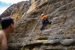 Rock Climbing Photo: My son working his way up the start.