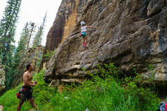 Rock Climbing Photo: Avery projecting the route.