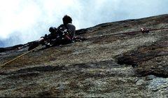 Rock Climbing Photo: Glen on Rain Dance (P2) during FA