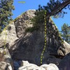 The Ingot, Holcomb Valley Pinnacles<br> <br> A. Goldfinch (5.7)<br> B. The Melon Factor (5.11b)<br> C. All that Glitters (5.10b)<br> D. Golden Opportunity (5.10d)