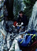 Rock Climbing Photo: Glen at Rain Dance bivy during FA