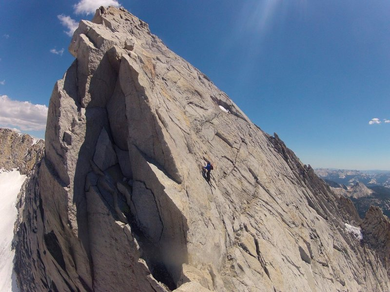 Rock Climbing Photo: Brett scrabbling up the NOrth Ridge