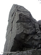 Rock Climbing Photo: Looking up the top 2/3 of the pillar. The west fac...