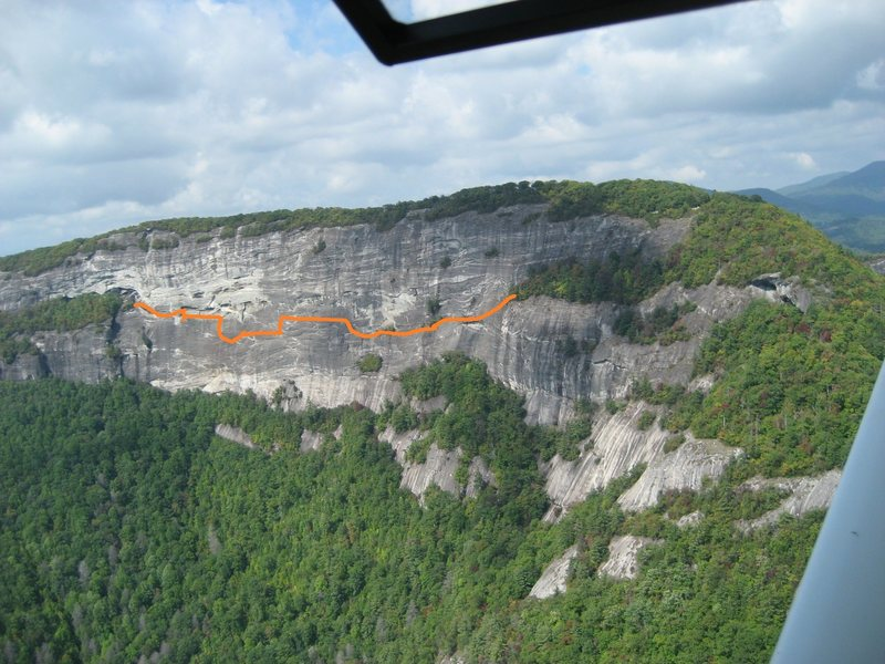 Rock Climbing Photo: I roughly sketched out the line on this aerial pho...