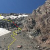 location of the fixed line to get up to the lower saddle.  trail is in yellow@SEMICOLON@ fixed line is in red.