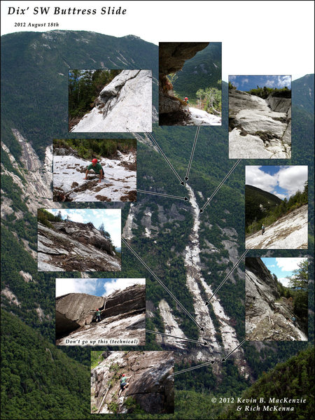 Rock Climbing Photo: Key areas of the Buttress Slide on the first ascen...