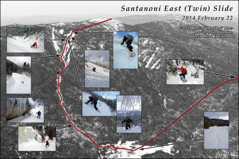 Santanoni Mtn. East (Twin) Slide - Winter. Thanks to Drew Haas for use of the aerial photograph.