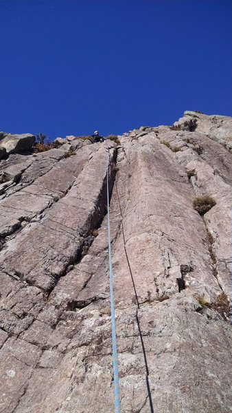 Rock Climbing Photo: Jo finishing the climb at the bush at the top of t...