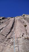Rock Climbing Photo: Route goes up the groove in shadow