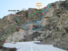Rock Climbing Photo: Pink - Wasi'chu Gallows. Red dots - bolts. Red X -...