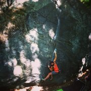 Rock Climbing Photo: Kayla sinking the first lock on one of Rumney's be...