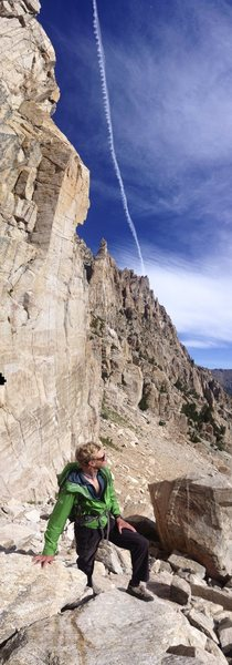 Rock Climbing Photo: Mathieu Brown charging the approach and scoping fu...