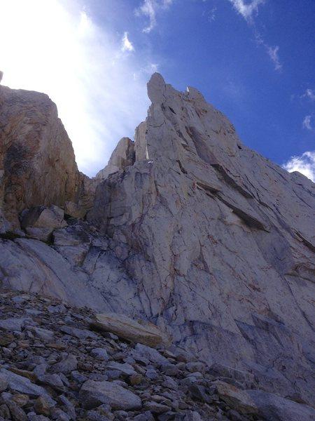 Rock Climbing Photo: The gully up towards Hawks Head Notch