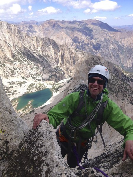 Mathieu enjoying classic High Sierra ridge climbing high on the N. Arete