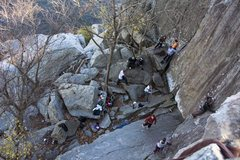Rock Climbing Photo: Looking down at Aid Box