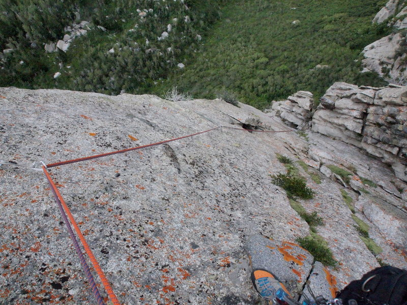 Rock Climbing Photo: Looking down the stellar 3rd pitch after the dihed...