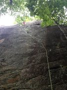 Rock Climbing Photo: Trepidation 5.10B at a nice rest, just before an e...