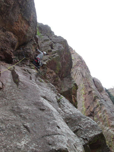 Pulling the bulge on pitch 1 on great, solid jugs all the way up.