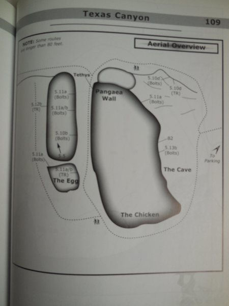 An overview of Texas Canyon (circa 2004) according to the Troy Mayr S. Cal Sport Climbing guidebook.