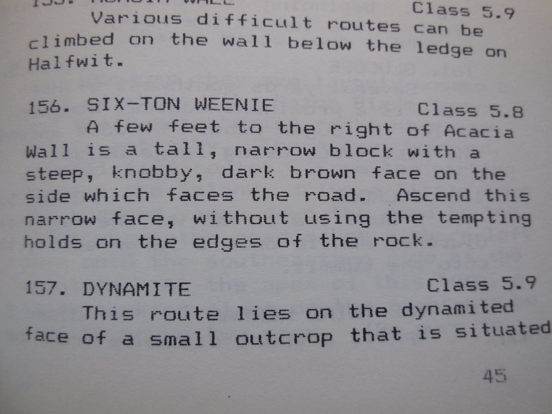 """The description of the """"Six-Ton Weenie"""" for Steve Mackay's 1976 Mt. Rubidioux guidebook."""