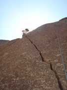 Rock Climbing Photo: Kyle, on the arete while cleaning the route!