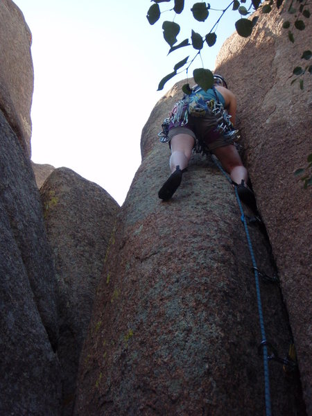 Headed up the hand crack.
