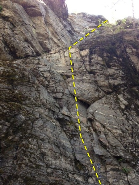 Route goes directly up and then moves right on an easy slab