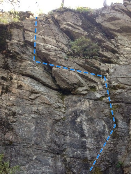 Rock Climbing Photo: Winding route first up then left about 15 feet the...