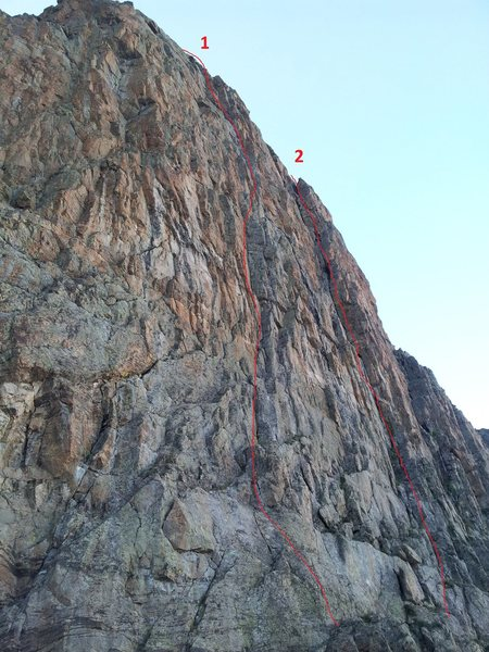 The lower buttress of the Seldom Seen Wall, showing 1) Jack Mormon and 2) The Route that Kor Forgot.