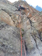 Rock Climbing Photo: Climbing the lower buttress during the first ascen...
