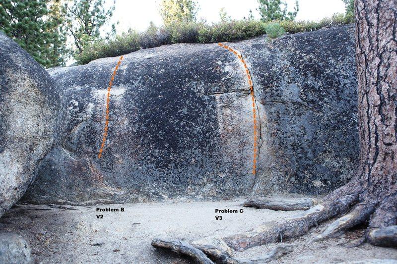 Rock Climbing Photo: Boulder E south face Topo