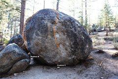 Rock Climbing Photo: Boulder J South East Prow Topo