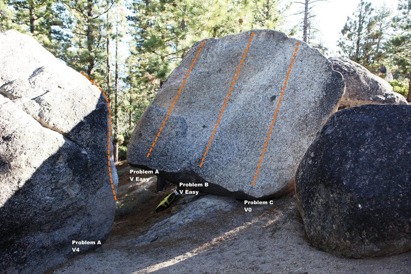 Rock Climbing Photo: Boulder L east face Topo