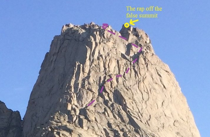 The 5.2 way in purple.  The false summit's rap station is shown in yellow should one decide to finishing up that-a-way with increased climb difficulty (5.7 or 5.8?).
