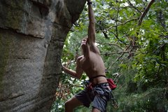 Rock Climbing Photo: Henry Robinson on the post-crux dead-point of Ebol...