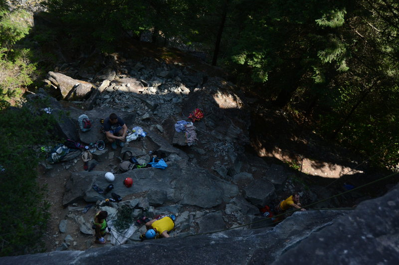 Rock Climbing Photo: Looking down at the area at the base of the Easter...