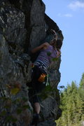 Rock Climbing Photo: Alena clipping one of the last bolts on the EB-5