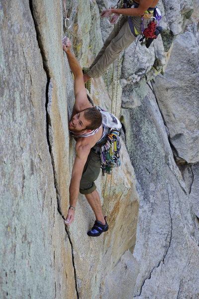 Rock Climbing Photo: Snake on P2 Crux
