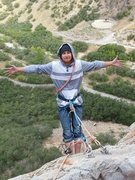 Rock Climbing Photo: Top down belay on the mantel route headed up to ju...