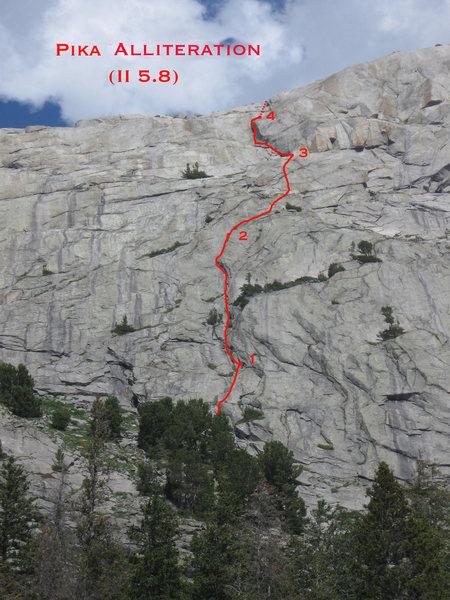 Rock Climbing Photo: A photo topo of the Pika Alliteration.