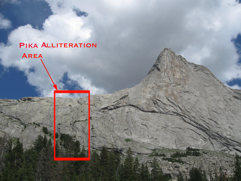 Pika Alliteration is located on the north end of Haystack, below the North Face Route.