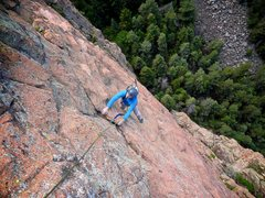 Rock Climbing Photo: Making the final moves at the top of the excellent...