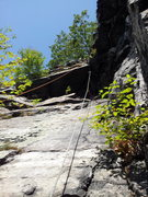 Rock Climbing Photo: Looking up at the second roof and top from the end...