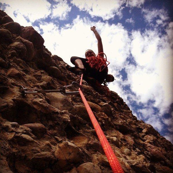 Rock Climbing Photo: Suzy Williams belaying Crystal Painter up to start...